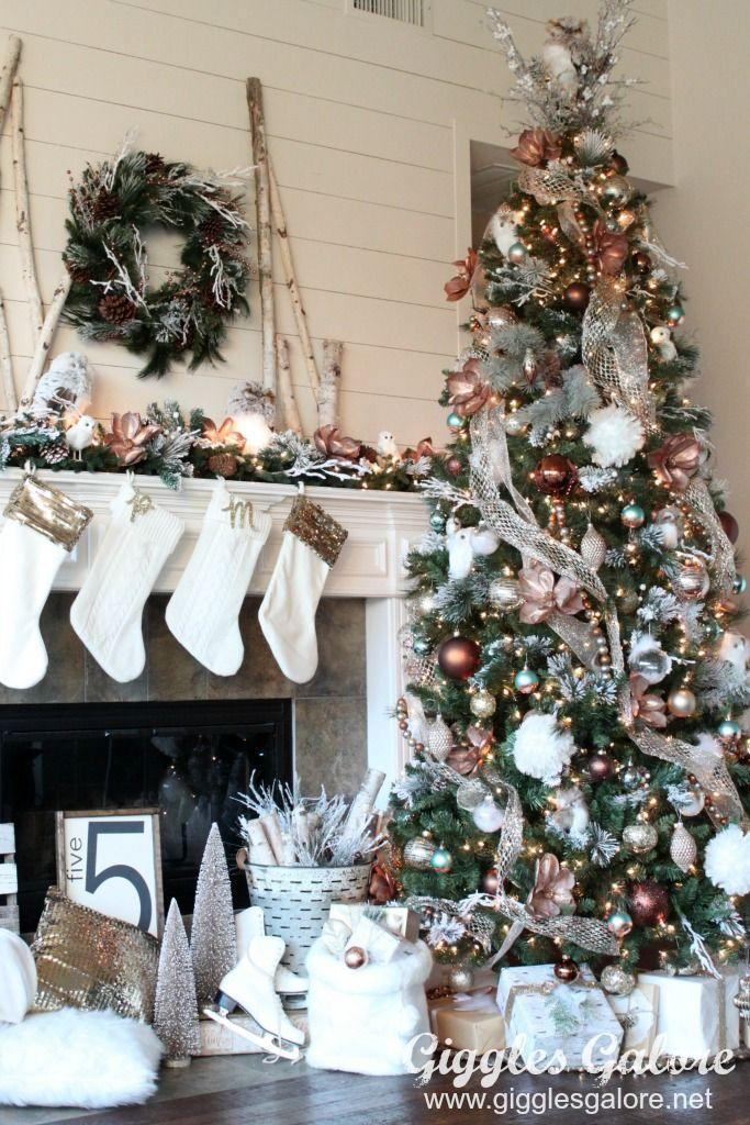 """<p>Transform your basic tree into a glamorous holiday decor with copper magnolia blooms, metallic garland, and glittery ornaments. </p><p><strong><em>Get the tutorial at <a href=""""https://gigglesgalore.net/glam-metallic-farmhouse-christmas-tree"""" rel=""""nofollow noopener"""" target=""""_blank"""" data-ylk=""""slk:Giggles Galore"""" class=""""link rapid-noclick-resp"""">Giggles Galore</a>. </em></strong></p><p><a class=""""link rapid-noclick-resp"""" href=""""https://www.amazon.com/Metallic-Christmas-Ornaments-Hanging-Decoration/dp/B073V7Y779/?tag=syn-yahoo-20&ascsubtag=%5Bartid%7C10070.g.2025%5Bsrc%7Cyahoo-us"""" rel=""""nofollow noopener"""" target=""""_blank"""" data-ylk=""""slk:BUY METALLIC ORNAMENTS"""">BUY METALLIC ORNAMENTS</a><br></p>"""