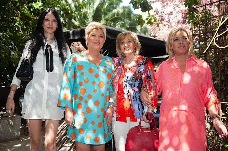 MADRID, SPAIN - JUNE 18: Alejandra Rubio (L), Terelu Campos (2L), Maria Teresa Campos (2R) and Carmen Borrego (R) attend a lunch to celebrate the Maria Teresa Campos's 78th birthday on June 18, 2019 in Madrid, Spain. (Photo by Europa Press Entertainment/Europa Press via Getty Images)