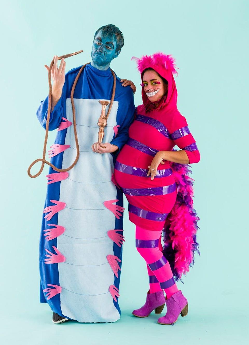 """<p>Looking for a clever way to make use of that old blue Snuggie? This caterpillar costume is for you! Just add a felt strip down the center to define the belly and glue on a bunch of hot pink hand shapes. To make it a <a href=""""https://www.countryliving.com/diy-crafts/g32906192/diy-group-halloween-costume-ideas/"""" rel=""""nofollow noopener"""" target=""""_blank"""" data-ylk=""""slk:group Halloween costume"""" class=""""link rapid-noclick-resp"""">group Halloween costume</a>, recruit a friend to dress up as the Cheshire Cat (see <a href=""""https://www.countryliving.com/diy-crafts/g21527022/cat-makeup-ideas/"""" rel=""""nofollow noopener"""" target=""""_blank"""" data-ylk=""""slk:Halloween cat makeup ideas"""" class=""""link rapid-noclick-resp"""">Halloween cat makeup ideas</a>). Just dress in head-to-toe pink and add stripes with purple duct tape. A feather boa tail finishes the look. </p><p><strong>Get the tutorial at <a href=""""https://www.brit.co/youll-go-mad-for-this-alice-in-wonderland-halloween-costume/"""" rel=""""nofollow noopener"""" target=""""_blank"""" data-ylk=""""slk:Brit + Co"""" class=""""link rapid-noclick-resp"""">Brit + Co</a>. </strong></p><p><a class=""""link rapid-noclick-resp"""" href=""""https://www.amazon.com/Z-Blanket-Purple-Premium-Wearable/dp/B01KBNDBZG/?tag=syn-yahoo-20&ascsubtag=%5Bartid%7C10050.g.29343502%5Bsrc%7Cyahoo-us"""" rel=""""nofollow noopener"""" target=""""_blank"""" data-ylk=""""slk:SHOP BLUE SNUGGIES"""">SHOP BLUE SNUGGIES</a></p>"""