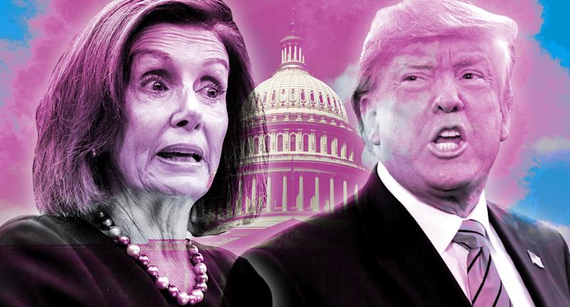 House Speaker Nancy Pelosi and President Donald Trump. (Photo illustration: Yahoo News; photos: Al Drago/Reuters, Spencer Platt/Getty Images, Getty Images)