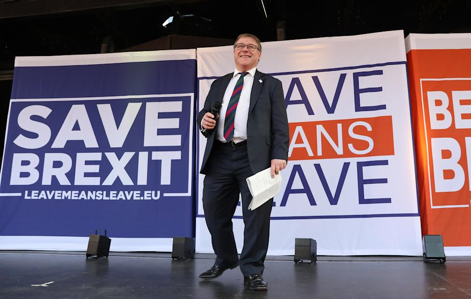 Mark Francois MP speaking on stage at the March to Leave protest in Parliament Square, Westminster, London