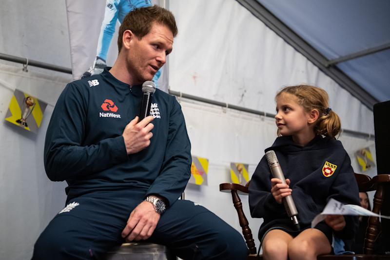 Morgan engaged with young fans on the ECB World Cup Winner's Trophy Tour