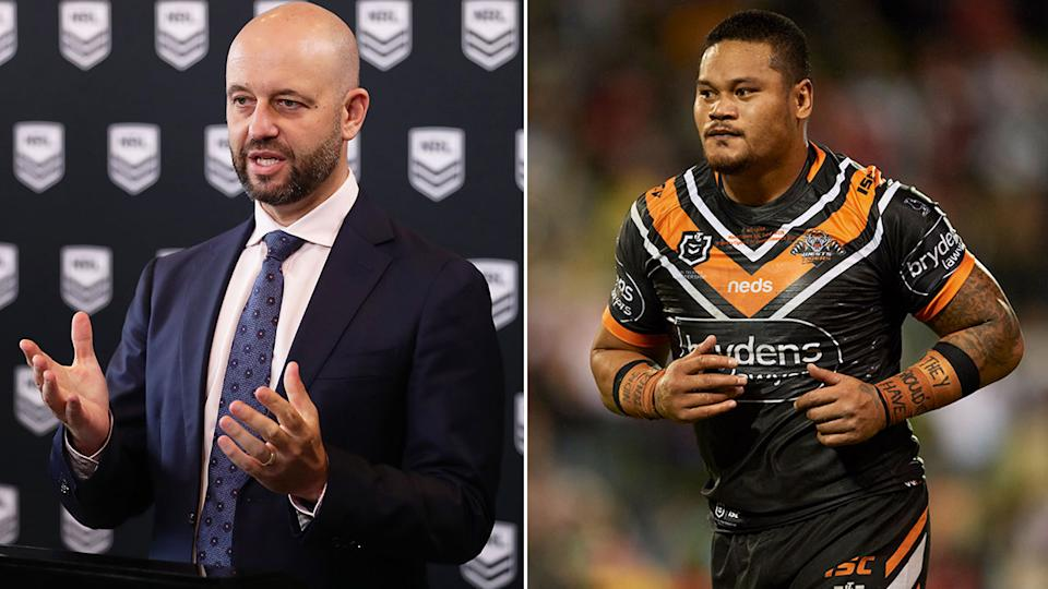 Pictured here, NRL CEO Todd Greenberg and Wests Tigers centre Joey Leilua.
