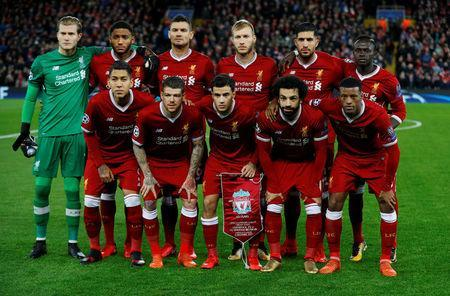 Soccer Football - Champions League - Liverpool vs Spartak Moscow - Anfield, Liverpool, Britain - December 6, 2017 Liverpool players pose for a team group photo before the match REUTERS/Phil Noble