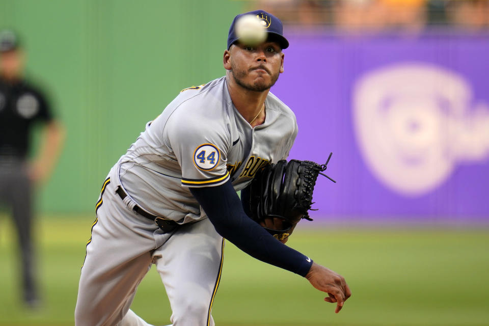 Milwaukee Brewers starting pitcher Freddy Peralta delivers during the second inning of the team's baseball game against the Pittsburgh Pirates in Pittsburgh, Thursday, July 29, 2021. The Brewers won 12-0. (AP Photo/Gene J. Puskar)