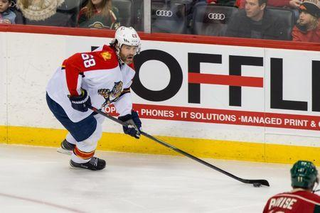 FILE PHOTO: Feb 28, 2016; Saint Paul, MN, USA; Florida Panthers forward Jaromir Jagr (68) skates with the puck in the third period against the Minnesota Wild at Xcel Energy Center. Mandatory Credit: Brad Rempel-USA TODAY Sports