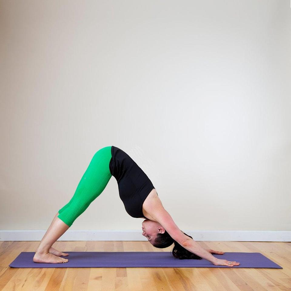 <ul> <li>Begin on your hands and knees, with your shoulders over your wrists and your hips over your knees.</li> <li>Inhale as you tuck your toes under your heels. Then exhale to lift your hips, coming into an upside-down V shape called Downward Facing Dog.</li> <li>Spread your fingers wide and create a straight line between your middle fingers and elbows, letting your heels drop towards the ground. Relax your head between your arms and direct your gaze through your legs or up toward your belly button.</li> <li>Press your left heel towards the ground and bend your right knee, concentrating the stretch in the back of your left leg.</li> <li>Hold for a few seconds, then switch sides, pressing your right heel to the ground and bending your left leg.</li> <li>Continue switching back and forth for 30 seconds.</li> </ul>
