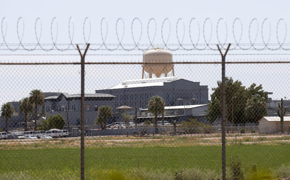 FILE - this this July 23, 2014, file photo, shows the state prison in Florence, Ariz., where corrections officials refurbished the state's gas chamber in December 2020 as the state tries to resume executions after a nearly seven-year hiatus. The last lethal-gas execution in the United States was carried in Arizona in 1999. The state also purchased materials in late 2020 to make hydrogen cyanide gas, which was used in executions in the U.S. and by the Nazi to kill 865,000 Jews at the Auschwitz concentration camp alone. (AP Photo/File)