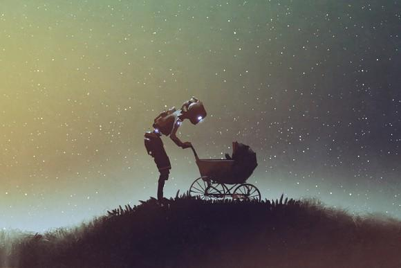Robot looking into a stroller against starry sky.
