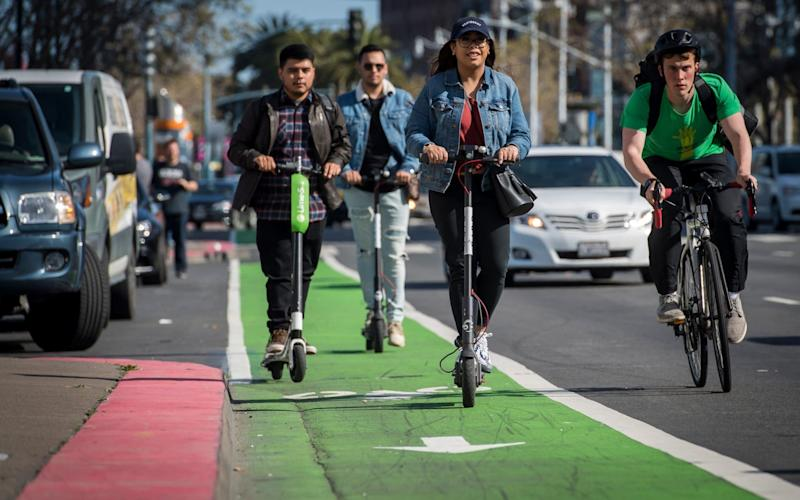 Electric scooter sharing companies are popular in San Francisco. - Bloomberg