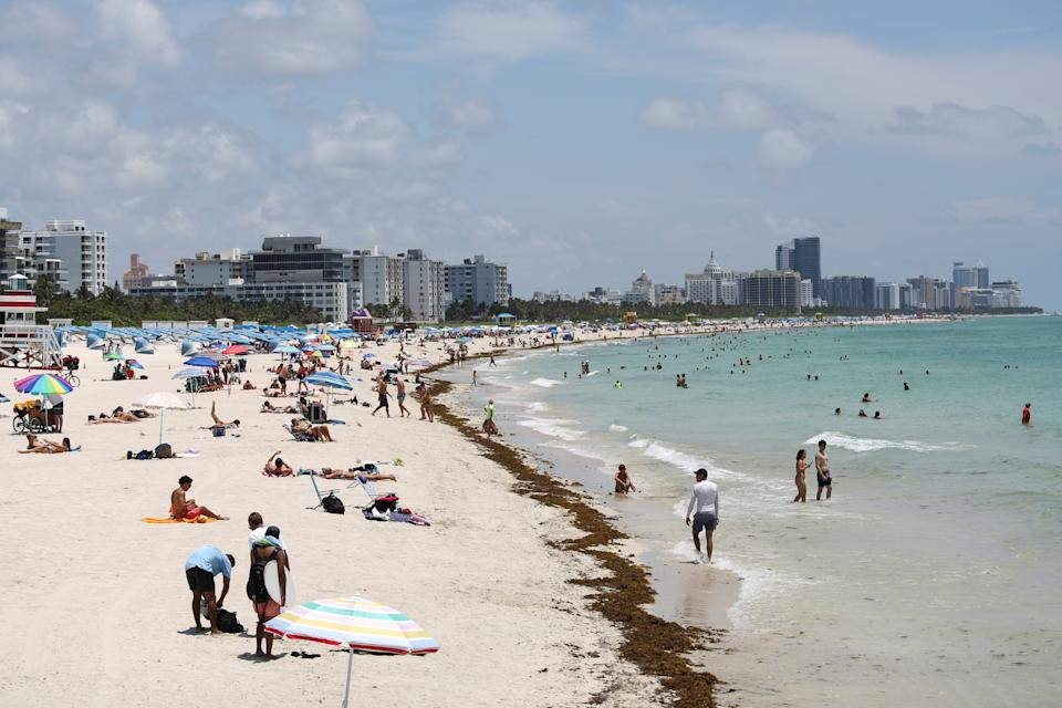 A general view of the South Beach as beaches are reopened with restrictions to limit the spread of the coronavirus disease (COVID-19), in Miami Beach, Florida, U.S., June 10, 2020. REUTERS/Marco Bello