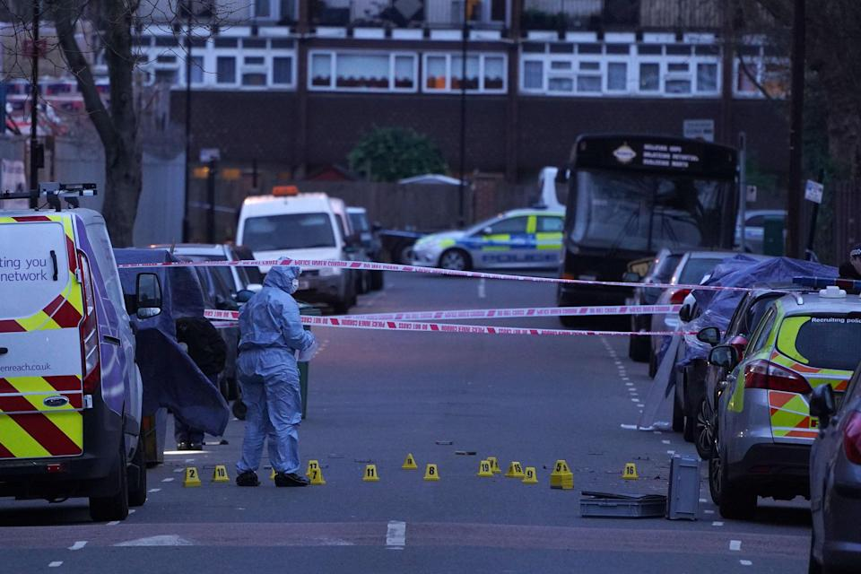 <p>Police at the scene of the killing of 14-year-old Jayden Moodie, one of 62 Black murder victims in London in 2019</p> (Getty Images)