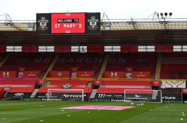 A general view of St Mary's Stadium, Southampton.