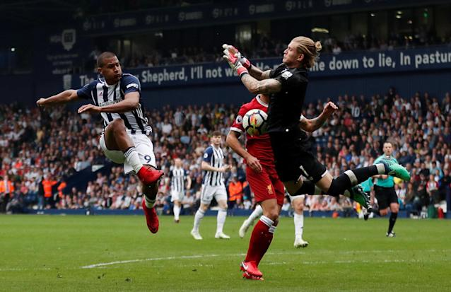 """Soccer Football - Premier League - West Bromwich Albion v Liverpool - The Hawthorns, West Bromwich, Britain - April 21, 2018 Liverpool's Loris Karius saves a shot from West Bromwich Albion's Salomon Rondon Action Images via Reuters/Andrew Boyers EDITORIAL USE ONLY. No use with unauthorized audio, video, data, fixture lists, club/league logos or """"live"""" services. Online in-match use limited to 75 images, no video emulation. No use in betting, games or single club/league/player publications. Please contact your account representative for further details."""