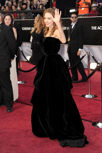 Angelina Jolie walks the red carpet at the 84th annual Academy Awards in Los Angeles. Getty Images
