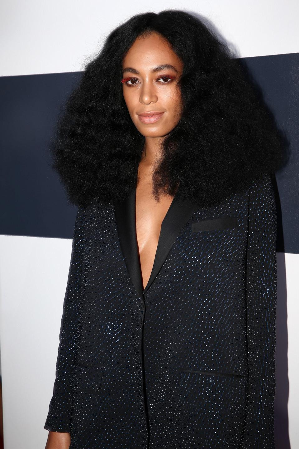 This might <em>look</em> like the standard, stunning Solange you know so well, but take a closer look and you'll see the singer's amazingly subtle orange eyelashes. This wasn't just one of the coolest moments of the 2014 VMAs, it was one of the awards' best beauty moments ever!