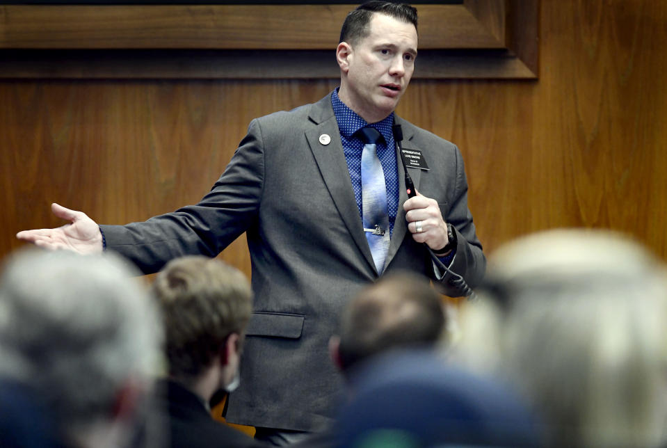 At the state Capitol in Bismarck, North Dakota on 3-4-2021, Rep. Luke Simons, R-Dickinson, speaks to members of the House to plead his case against his expulsion from the chamber due to accusations of workplace harassment and sexual harassment over the course of four years, Thursday, March 4, 2021. The members voted 69-25 to expel Simons from the legislature. (Mike McCleary/The Bismarck Tribune via AP)