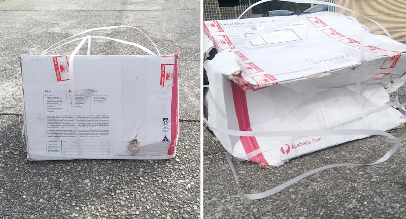 The Australia Post box was partially collapsed and had gaping holes. Source: Facebook