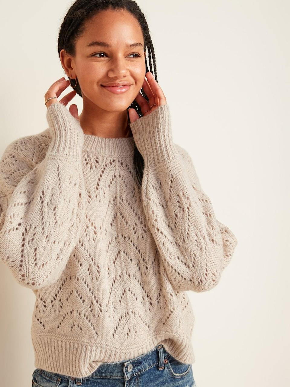 <p>The <span>Cozy Pointelle-Knit Crew-Neck Sweater</span> ($38, originally $40) has subtle openwork, making it such a sweet piece.</p>