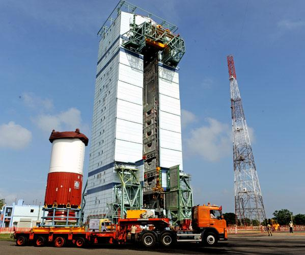 The support structure waiting for the PSLV to fit in before the launch.