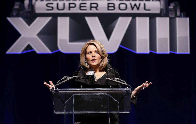 Opera singer Renee Fleming who will sing the National Anthem before the NFL Super Bowl XLVIII football game speaks during a press conference Thursday, Jan. 30, 2014, in New York. (AP Photo)