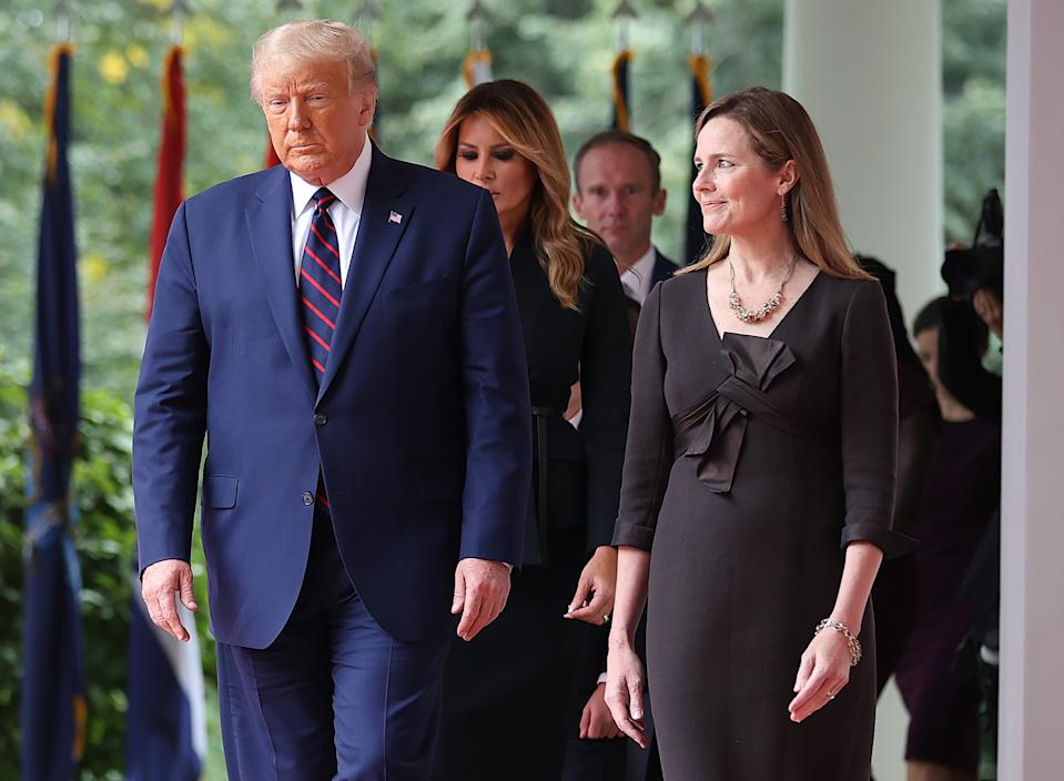 Donald Trump with Amy Coney Barrett