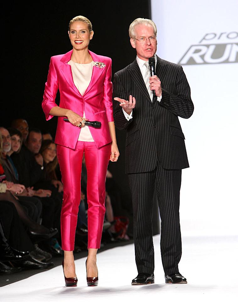 "Heidi Klum and Tim Gunn hosted the Project Runway Fall 2009 collection at New York Fashion Week. Unfortunately, the designers could not reveal their identities because the current season of the reality show remains unaired due to legal issues. Jason Kempin/<a href=""http://www.wireimage.com"" target=""new"">WireImage.com</a> - February 20, 2009"