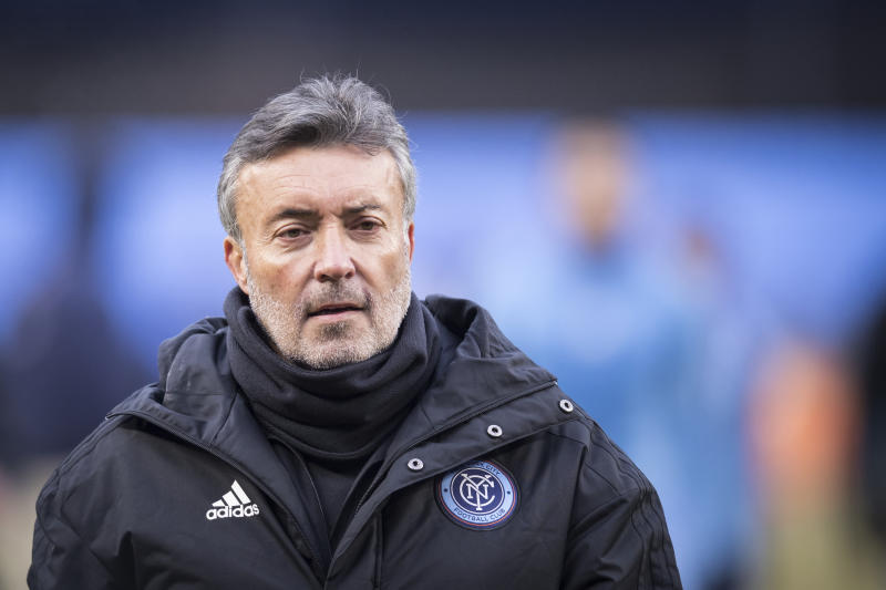 BRONX, NY - MARCH 10: Domenec Torrent Head Coach of New York City FC walks off the pitch after the 2019 Major League Soccer Home Opener match between New York City FC and DC United at Yankee Stadium on March 10, 2019 in the Bronx borough of New York. The match ended in a tie with a score of 0 to 0. (Photo by Ira L. Black/Corbis via Getty Images)