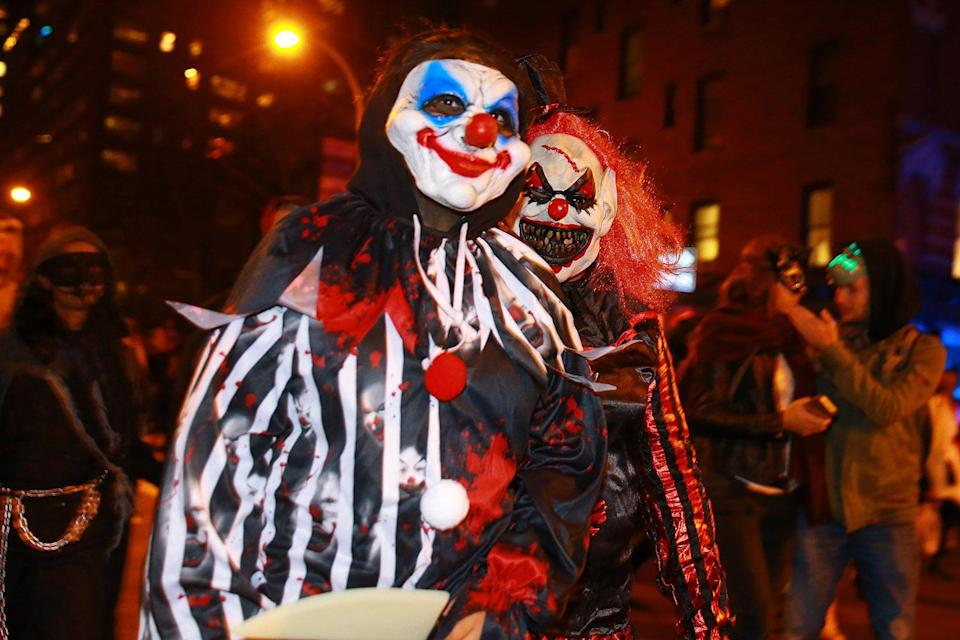 <p>Scary clowns were a popular costume at the 44th annual Village Halloween Parade in New York City on Oct. 31, 2017. (Photo: Gordon Donovan/Yahoo News) </p>
