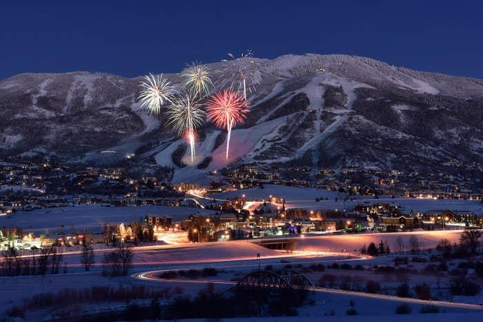 Ski town with fireworks at night