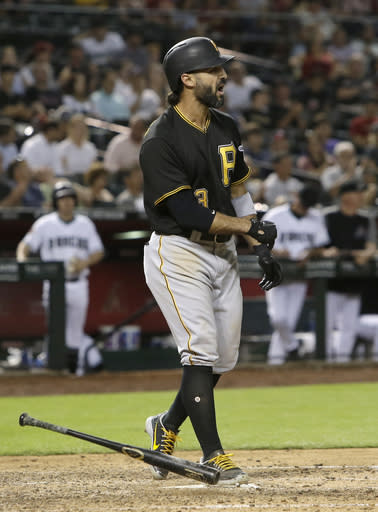 Pittsburgh Pirates Sean Rodriguez reacts after striking out in the fifth inning of the team's baseball game against the Arizona Diamondbacks, Tuesday, June 12, 2018, in Phoenix. (AP Photo/Rick Scuteri)
