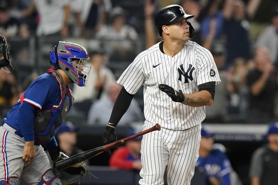 New York Yankees' Gary Sanchez flips his bat after hitting a two-run home run during the eighth inning of a baseball game against the Texas Rangers Wednesday, Sept. 22, 2021, in New York. (AP Photo/Frank Franklin II)