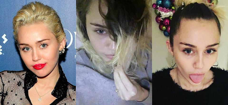 """<p><b>When: January 2017 </b><br>Miley Cyrus is going back to her darker roots! The Princess of Pop recently posted selfies on Instagram showcasing her darker hair roots, one captioned '""""Goin back 2 muah roots #LAZY #growingphase."""" Miley's a natural brunette, but has never been afraid to experiment with various hair shades and styles over the years. What do you think about her darker tones? <i> (Photos: Getty/Instagram/January 2017)</i> </p>"""