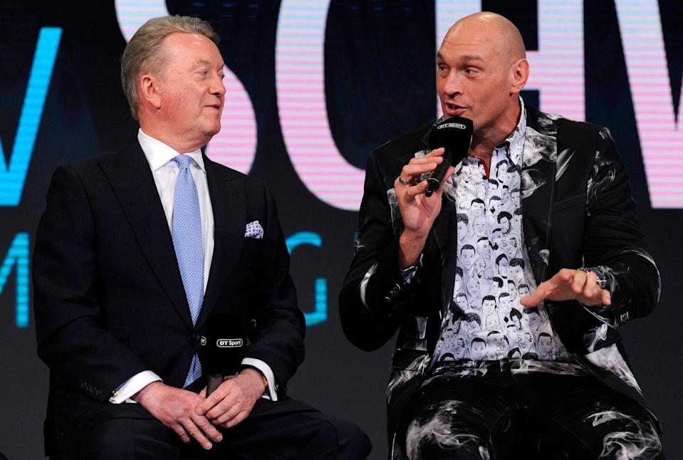 <p>Frank Warren has faith Fury would win a heavyweight title unification clash inside six rounds</p>Getty Images