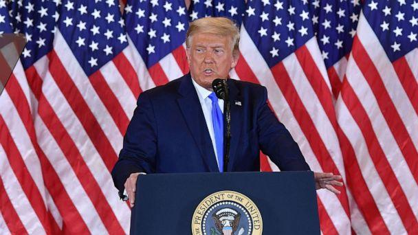 PHOTO: President Donald Trump speaks during election night in the East Room of the White House in Washington, early on Nov. 4, 2020. (Mandel Ngan/AFP via Getty Images, FILE)
