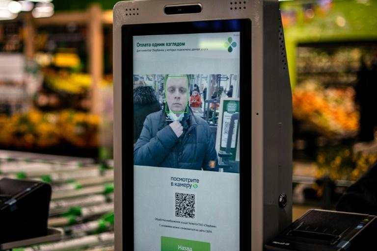 The face of the future -- a facial recognition payment system at a self-checkout machine in a Perekrestok supermarket in Moscow