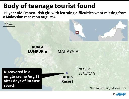 Map locating Dusun Resort in Malaysia near where the body of a missing Franco-Irish teenager was found on Tuesday