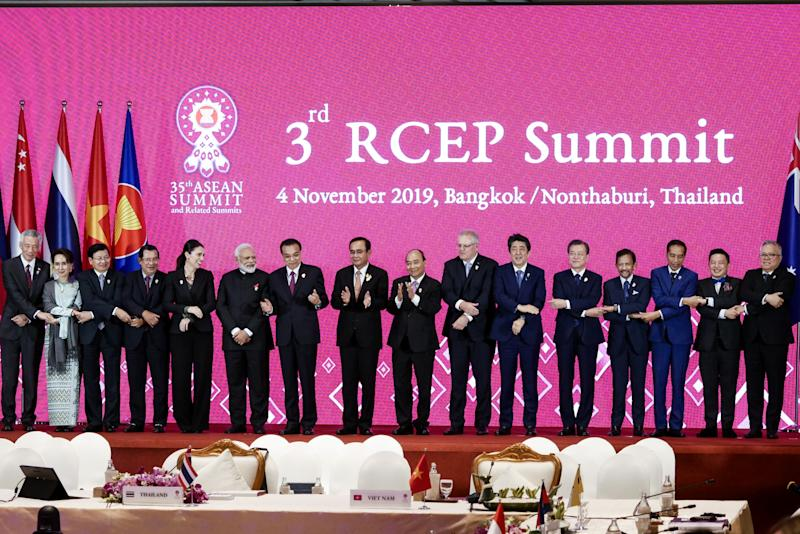 NONTHABURI, THAILAND - NOVEMBER 4: ASEAN and Indian, South Korea, Japan, China, and New Zealand leaders, pose for a photo during the 3rdRCEP Summit at IMPACT Muang Thong Thani in Nonthaburi, Thailand on November 4, 2019. (Photo by Anton Raharjo/Anadolu Agency via Getty Images)