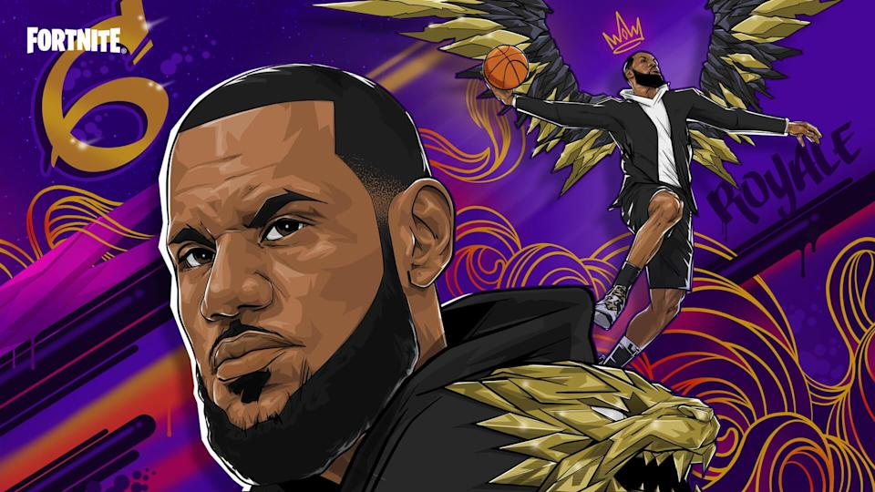 The LeBron James loading screen from the Fortnite game featuring an artistic mural of his face on a purple background.