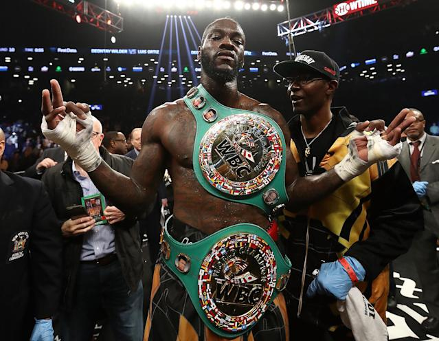 WBC heavyweight champ Deontay Wilder won't be attending the Anthony Joshua vs. Joseph Parker fight in Wales on Saturday. (Getty)