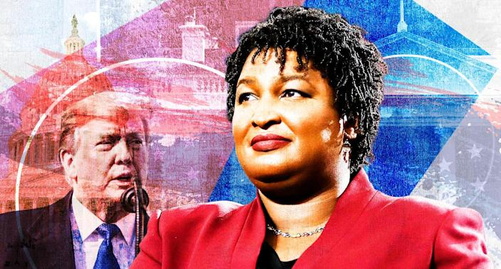 Donald Trump and Stacey Abrams. (Yahoo News photo Illustration; photos: AP, Getty)