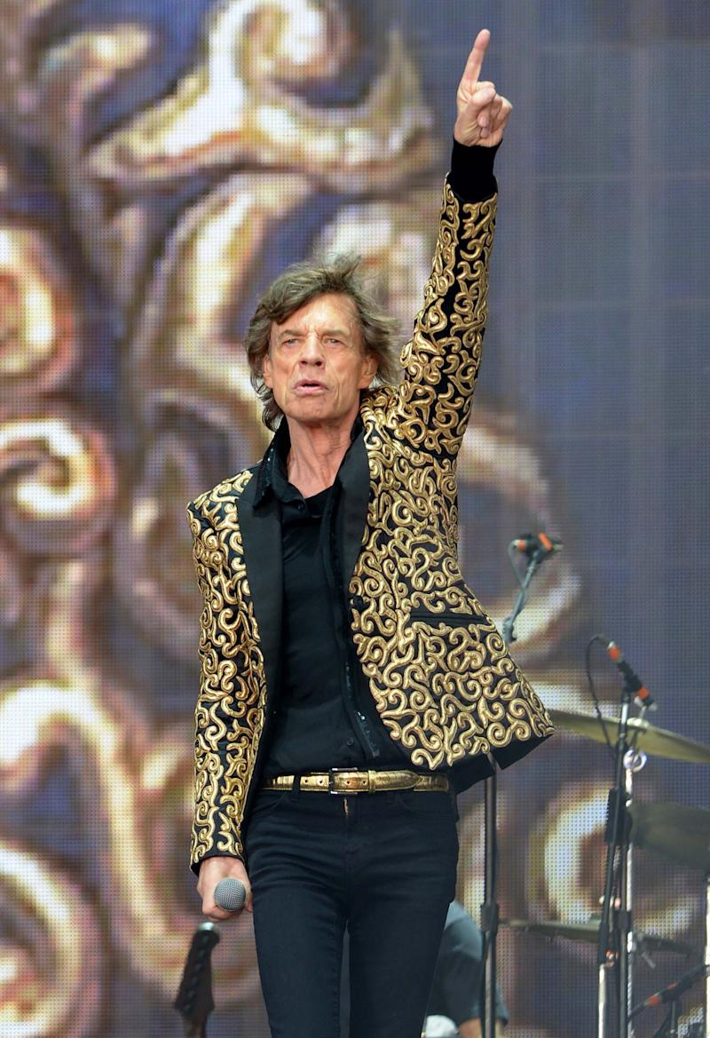 Mick Jagger of Rolling Stones performs at British Summer Time at Hyde Park in London on Saturday, July 6, 2013. (Photo by Jon Furniss/Invision/AP Images)
