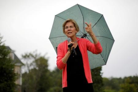 FILE PHOTO: Democratic 2020 U.S. presidential candidate Warren speaks at a campaign house party in Hampton Falls