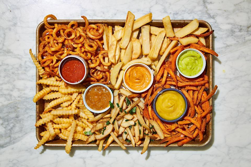 """<p>Making a scene-stealing fry board isn't hard, if you have the right tools. First, assemble and prepare an assortment of your <a href=""""https://www.delish.com/food/g28281281/best-frozen-french-fries/"""" rel=""""nofollow noopener"""" target=""""_blank"""" data-ylk=""""slk:favorite frozen fries"""" class=""""link rapid-noclick-resp"""">favorite frozen fries</a>. Next, plate up these unique sauces and let your guests dig in. Ketchup? So last year. (JK <a href=""""https://www.delish.com/cooking/recipe-ideas/a25488367/whole30-ketchup-recipe/"""" rel=""""nofollow noopener"""" target=""""_blank"""" data-ylk=""""slk:ketchup"""" class=""""link rapid-noclick-resp"""">ketchup</a>, you're invited too.)</p>"""