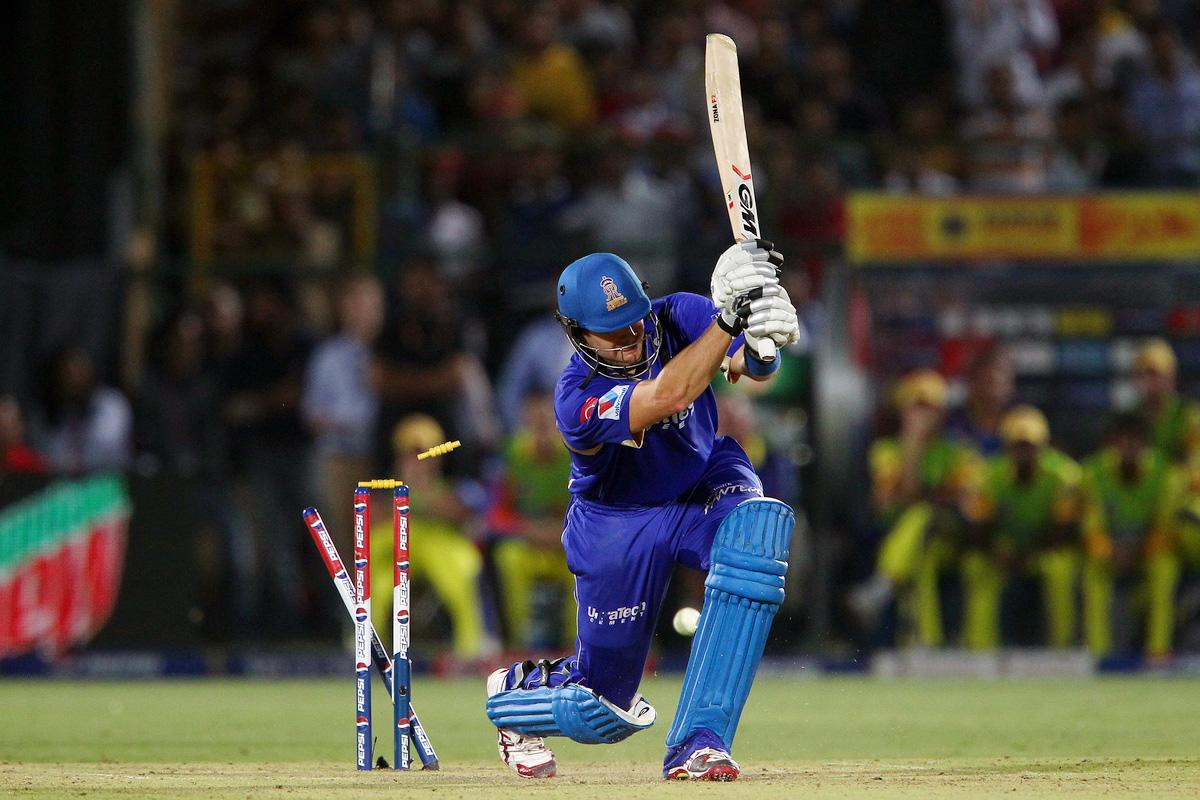 Shane Watson is bowled by Dwayne Bravo during match 61 of the Pepsi Indian Premier League ( IPL) 2013  between The Rajasthan Royals and the Chennai Super Kings held at the Sawai Mansingh Stadium in Jaipur on the 12th May 2013. (BCCI)