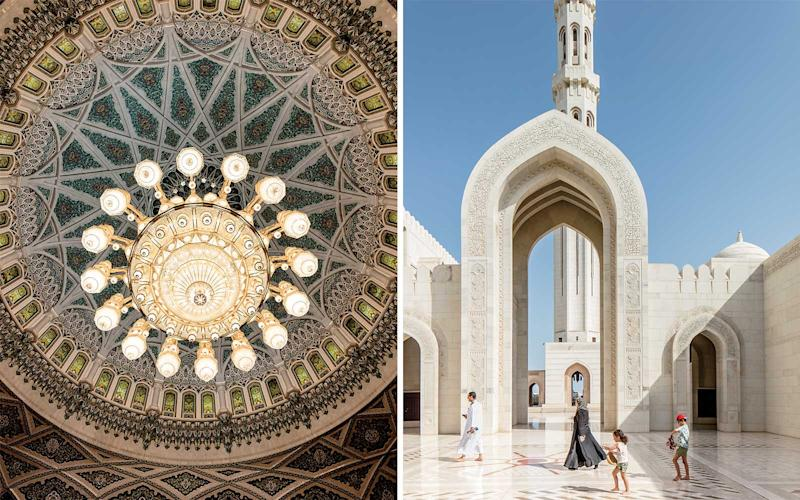 From left: The tiled dome of Sultan Qaboos Grand Mosque, in Muscat; visitors walking through the mosque's courtyard. | Stefan Ruiz