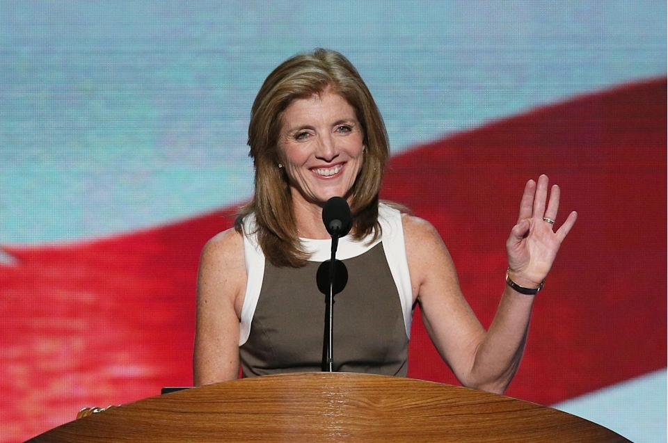 <p>Caroline Kennedy speaks on stage during the final day of the Democratic National Convention.</p>