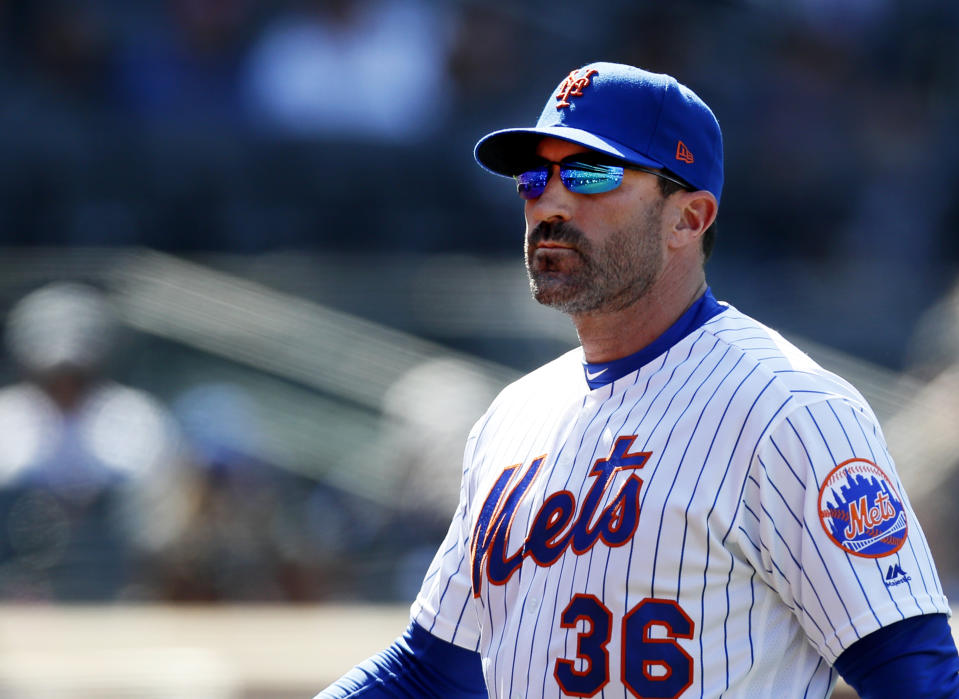 NEW YORK, NY - APRIL 6:  Manager Mickey Callaway #36 of the New York Mets walks back to the dugout during an MLB baseball game against the Washington Nationals on April 6, 2019 at Citi Field in the Queens borough of New York City. Mets won 6-5. (Photo by Paul Bereswill/Getty Images)