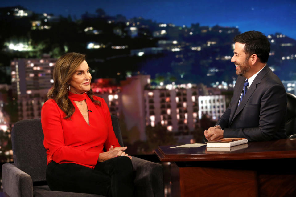 Jimmy Kimmel (R) slammed California governor hopeful Caitlyn Jenner for her comments on the homeless population. The two are pictured together in 2017. (Photo: Getty Images)