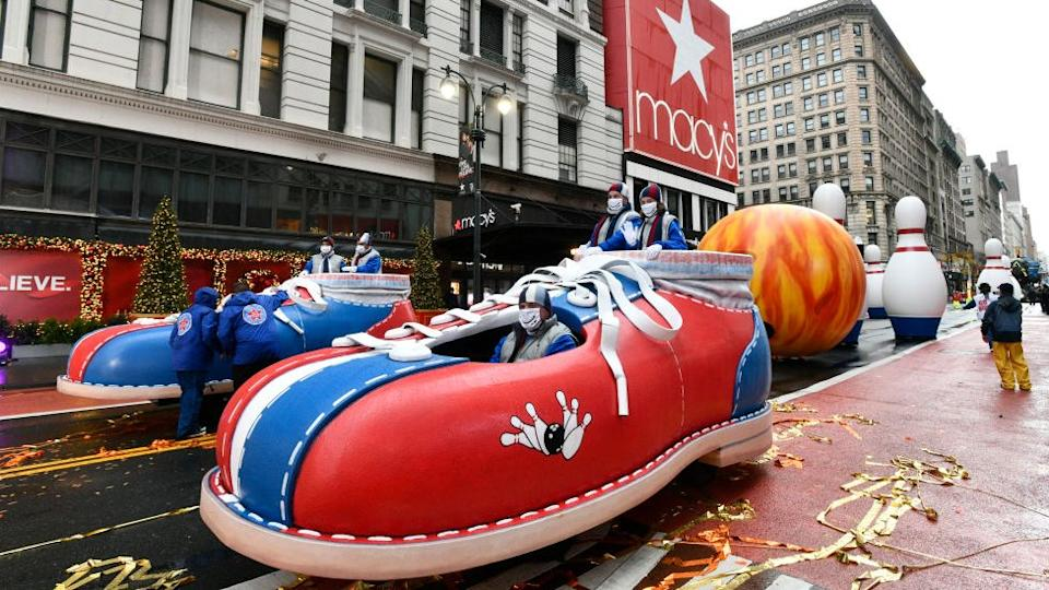 Go Bowling balloonicles at the 94th Annual Macy's Thanksgiving Day Parade on 26 November 2020 in New York City